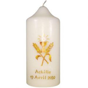 Cierge de communion personnalisable peint à la main Première communion Pascale Belenfant Chauveau