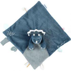 Doudou plat attache sucette Ops le tricératops TSO Noukie's