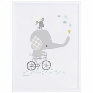 Affiche encadrée éléphant sur son vélo Smile, it's raining by Dawn Machell (30 x 40 cm) Lilipinso