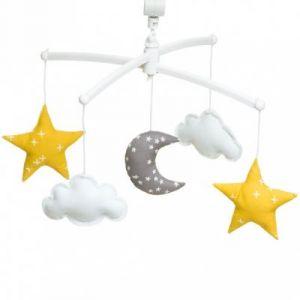 Mobile musical Lune jaune et gris (7 mélodies au choix) Pouce et Lina