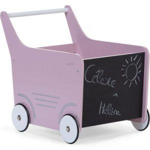 Chariot de marche en bois rose clair Childhome