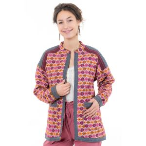 Fantazia - Sweat gilet cardigan - Veste femme broderies ethnic chic Kadahi
