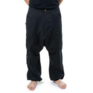 Fantazia - Sarouel homme épais - Pantalon sarouel baggy droit homme femme noir uni Sarul