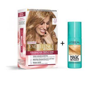 L'OREAL PARIS Lot coloration Excellence 7.30N Blond doré + Spray Magic Retouch 75 ml Blond