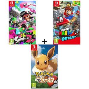 Pack 3 jeux Switch : Pokémon : Let's go, Evoli + Splatoon 2 + Super Mario Odyssey