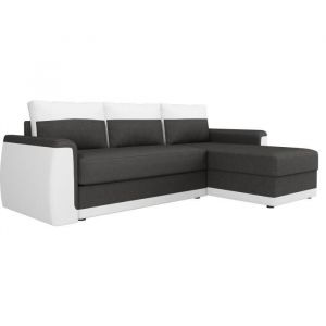 JAMES Canapé d'angle convertible 3 places - Simili blanc et tissu gris anthracite - Contemporain - L 230 x P 142 cm - Angle convertible - 3 places - Simili blanc et tissu anthracite - Contemporain - Assise L190 x P54 cm - Ferme