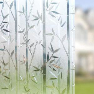 Film Occultant pour Fenêtre Electrostatique Film Adhésif  Décoratif Pour Vitrage Autocollant-- 60 cm × 200 cm-- Motif Bambou
