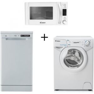 CANDY AQUA1041D1 Lave linge frontal compact + CANDY - CDP2D11453W - Lave vaisselle + CANDY CMXW20DW-Micro ondes