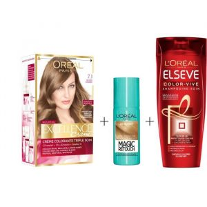 L'OREAL PARIS Lot coloration Excellence 7.1N Blond cendré + Magic Retouch 75 ml Blond + Shampoing Color-Vive 250 ml