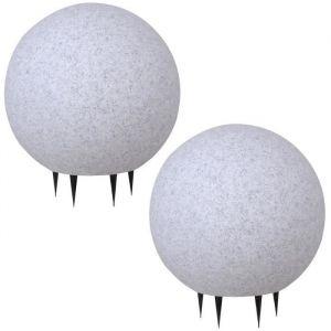 2 x boule lumineuse jardin pierre luminaire extérieur décoration granit IP65 E27