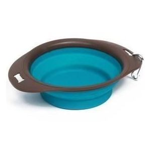 M PETS Gamelle pliable On The Road L - 30 x 23 x 7.4 cm - 1230 ml -   Bleu turquoise et marron