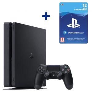 Console PS4 Slim 500Go Noire/Jet Black + Abonnement 12 Mois au PlayStation Now - Code de Téléchargement pour PS4