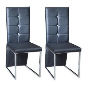 BLING Lot de 2 chaises de salle à manger - Simili noir - Contemporain - L 44,5 x P 54 cm