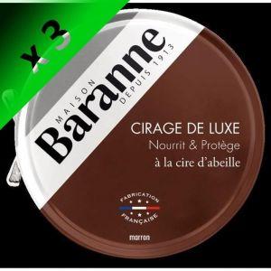 BARANNE Cire pour Chaussures Luxe Marron - 75 ml (Lot de 3)
