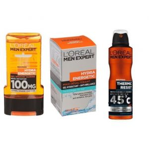 L'ORÉAL PARIS Men Expert - Lot gel Douche 300 ml + Déodorant spray 50 ml + Soin hydratant  50 ml