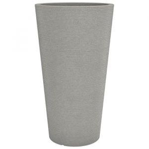 SCHEURICH Pot en plastique rotomoulé Coneo High 243 - 39 x 70 cm - Taupe granite - Plastique rotomoulé - 39 x 70 cm - 27 L - Taupe granite - Résistant au gel et aux UV - Bouchon amovible
