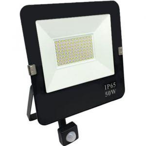 Projecteur LED Extérieur 50W Détecteur de Mouvement Crépusculaire Extra Plat IP65 NOIR - Blanc Neutre 4200k - 5500k Silumen