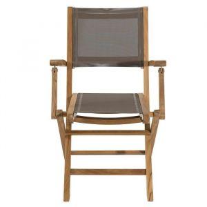 Lot 2 fauteuils pliants en teck et  textilène - Couleur taupe - Lot 2 fauteuils pliants n textilène - Taupe