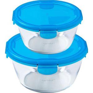 PYREX - Lot de 2 boîtes rondes 15cm + 20 cm - Bleu - Couvercle CITRUS - Cook&Go - Rainbow 2005 - 0,7 + 1,6 l