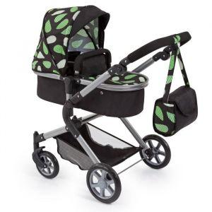 BAYER Landau pour poupée Neo Star noir et vert avec sac à bandoulière et panier d'achat intégré réglable - convertible poussette