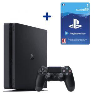 Console PS4 Slim 500Go Noire/Jet Black + Abonnement 1 Mois au PlayStation Now - Code de Téléchargement pour PS4