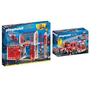 PLAYMOBIL - Pack Les Pompiers - 9462 Caserne de pompiers avec hélicoptère + 9464 Fourgon d'intervention