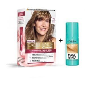 L'OREAL PARIS Lot coloration Excellence 7.1N Blond cendré + Spray Magic Retouch 75 ml Blond