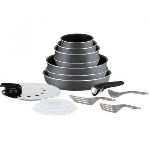 TEFAL L2048802 Batterie de cuisine 15 pièces INGENIO MINUTE - Gris anthracite