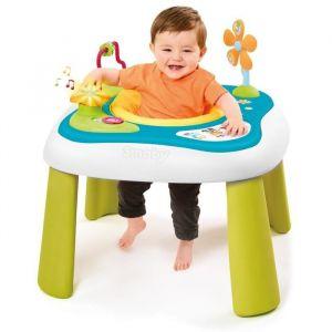 SMOBY Cotoons Youpi Baby Multiactivités - Table d'éveil multifonctions 2 en 1 : le siège tissu rotatif et les activités permettent à bébé de s'éveiller