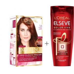 L'OREAL PARIS Lot coloration Excellence 5.6N Châtain clair auburn + Shampoing Color-Vive 250 ml