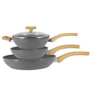TheKitchenette Lot de 2 Poèles 20 et 28 cm et 1 Sauteuse 24 cm - Aluminium - Tous feux dont induction - Gris