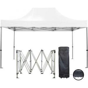 Barnum pliante 3x4.5m 50mm en aluminium premium PRO 520Gr/m2 étanche blanche  tente de Réception Qualité