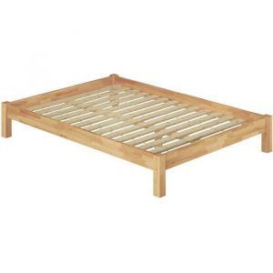 60.84-18 Lit adulte style futon en hêtre massif naturel 180x200 cm avec sommier à lattes en bois