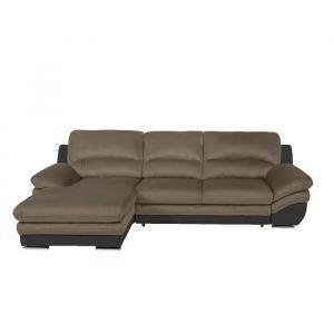 PIXEL Canapé d'Angle gauche Convertible - Simili et noir et beige - L 265 x P 170 x H 86 cm