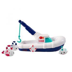 LUDI Bateau de pêche - 100% ABS - A partir de 18 mois - 100% ABS - Dans le bain ou à la mer - Astucieuse, la coque se détache pour se transformer en barque