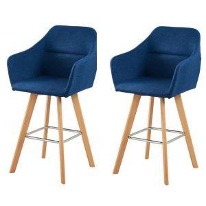JONAS Lot de 2 tabourets de bar - Bois hêtre massif - Tissu bleu clair - Style scandinave - L 52 x P 55 cm