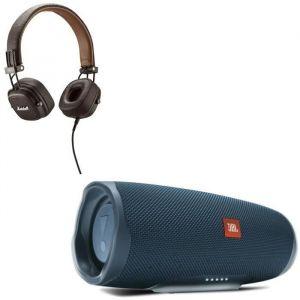 JBL Charge 4 Enceintes Bluetooth portable - 20 heures d'autonomie - Bleu + MAJOR II Casque marron