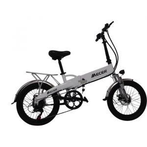 MECER Vélo pliant 20' électrique – Cadre alu - Autonomie 55km – 7 vitesses shimano – Assemblé en France - Blanc