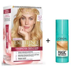 L'OREAL PARIS Lot coloration Excellence 9.3N Blond très clair doré + Spray Magic Retouch 75 ml Blond clair