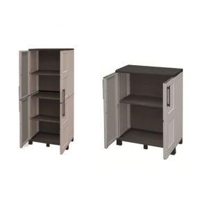 TOOD Lot de 2 armoires haute et basse de rangement en résine