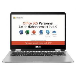 "PC Portable-ASUS VivoBook Convertible Tactile TP401MA-EC725TS - 14""FHD - Pentium - RAM 4Go-Stockage 64Go-Win 10 S+Office 365 Perso"