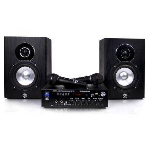 MYDEEJAY MY KARAOKE Ensemble Karaoke - 1  Ampli + 2 enceintes 2x75W - USB - Bluetooth - 2 Micros - Ensemble Karaoke Ampli 2x75W - USB - Bluetooth - 2 Enceintes Hifi - 2 Micros - Lecteur carte Micro SD