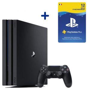 Console PS4 Pro 1To Noire/Jet Black + Abonnement 12 Mois au PlayStation Plus - Code de Téléchargement pour PS4