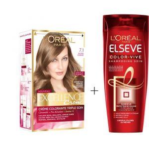 L'OREAL PARIS Lot coloration Excellence 7.1N Blond cendré + Shampoing Color-Vive 250 ml