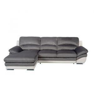 PIXEL Canapé d'Angle gauche Convertible - Simili et tissu blanc et anthracite - L 265 x P 170 x H 86 cm