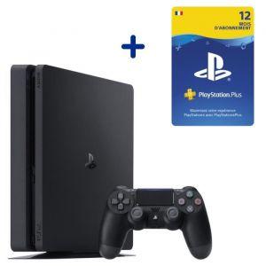 Console PS4 Slim 500Go Noire/Jet Black + Abonnement 12 Mois au PlayStation Plus - Code de Téléchargement pour PS4