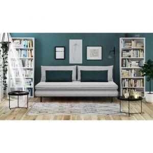 APOLINE Banquette méridienne 3 places - Tissu Gris clair/Bleu - Style classique - L 192 x P 101 cm