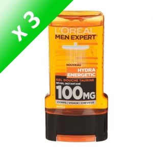 L'OREAL PARIS Men Gels Douches hydra energetic - 300 ml (Lot de 3)