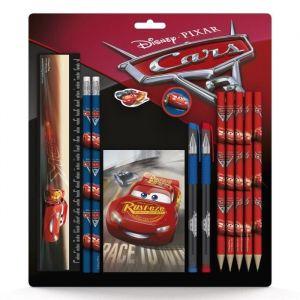 DISNEY CARS SD Set scolaire : règle 15 cm, 2 crayons, gomme, taille-crayon, 5 crayons de couleur, 2 stylos, 1 bloc-notes