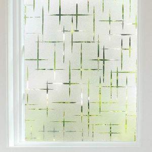 Film Adhésif Fenêtre Film occultant pour fenêtre Film Anti-regard Electrostatique Autocollant Effet croisillons  -90 x 200CM